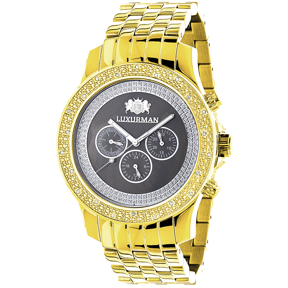 Diamond Watches for Men: Luxurman Yellow Gold Plated Watch 0.25ct Main Image