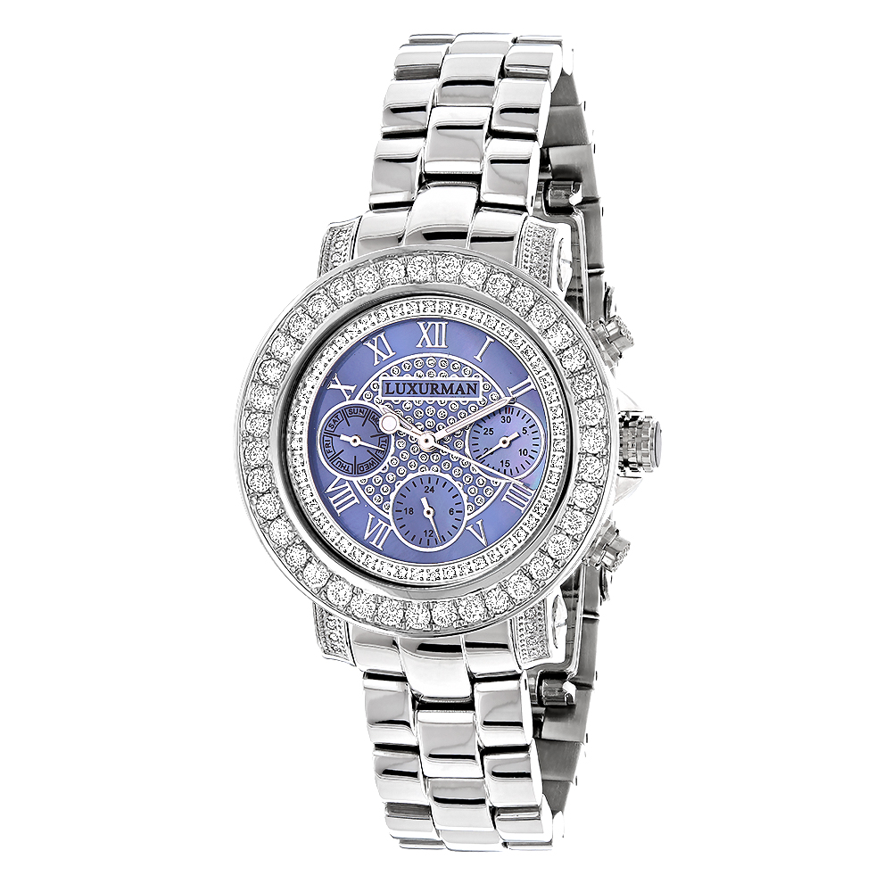 Diamond Watches For Women: Luxurman Ladies Blue MOP Montana Watch 3ct