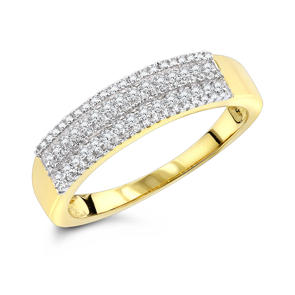 Diamond Wedding Bands 14K Designer Diamond Band 0.60ct