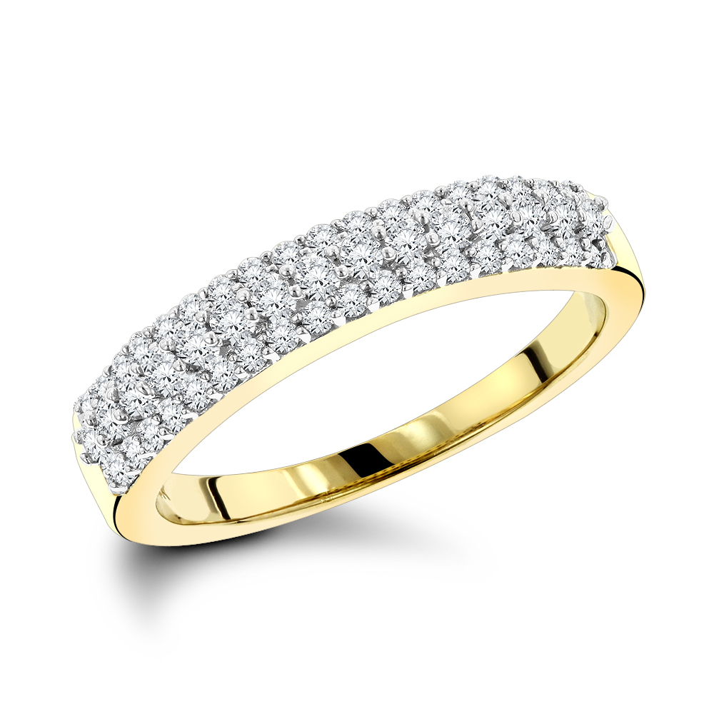 Thin Diamond Wedding Bands 14K Gold 3 Row Diamond Band .57ct