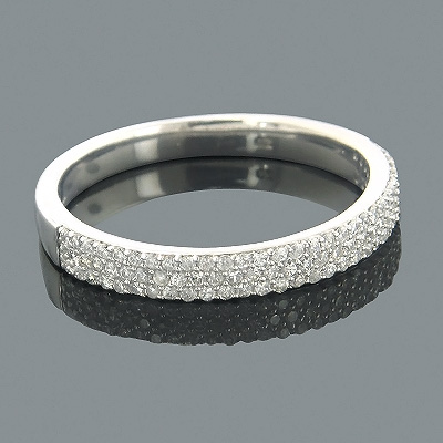 Thin Diamond Wedding Bands for Women 14K Gold Round Diamond Band 0.38ct Main Image