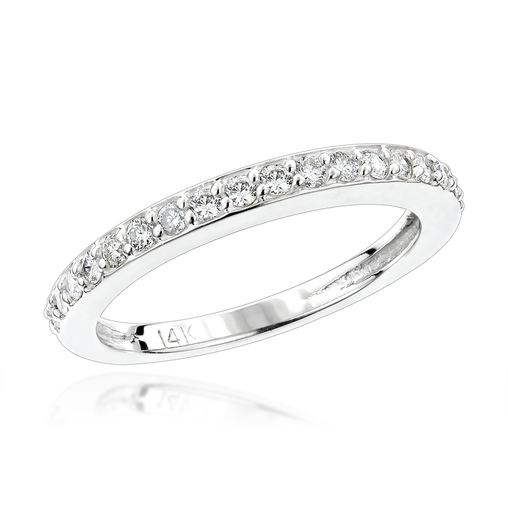 Thin Diamond Wedding Bands 14K Gold 0.34ct Stackable Ladies Ring White Image