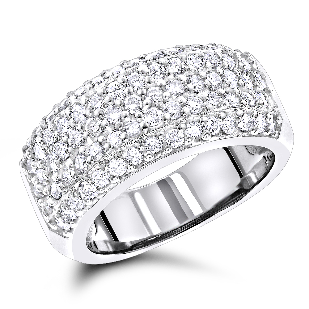 Diamond Wedding Bands 14K Pave Diamond Band 1.5ct White Image