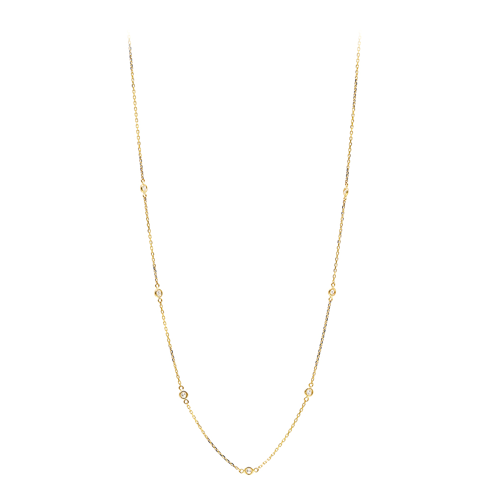 Diamonds by the Yard Ladies Necklace with Diamonds Solid 14k Gold 0.25ct Yellow Image