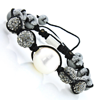 Disco Ball Bracelet with grey Crystals and Pearl Bead