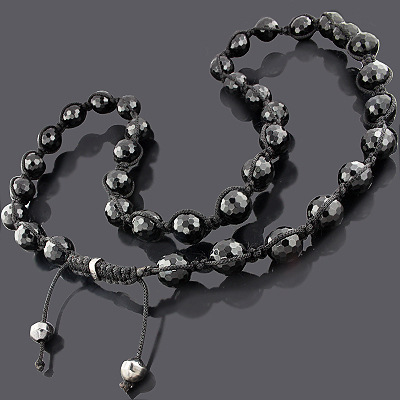 Disco Ball Necklace 28in Large Black Beads Main Image