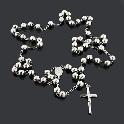 Disco Ball Rosary Beads: Sterling Silver Chain Necklace 9mm disco-ball-rosary-beads-sterling-silver-chain-necklace-9mm_1