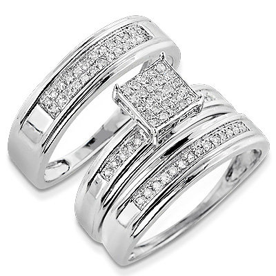 discount engagement rings silver diamond trio ring set