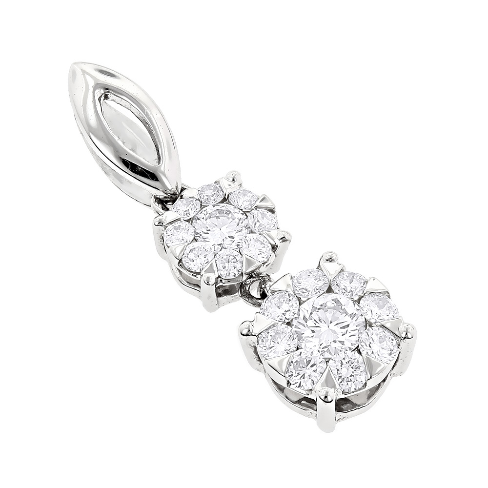 Double Cluster Diamond Pendant 0.49ct 18K Luccello Jewelry White Image