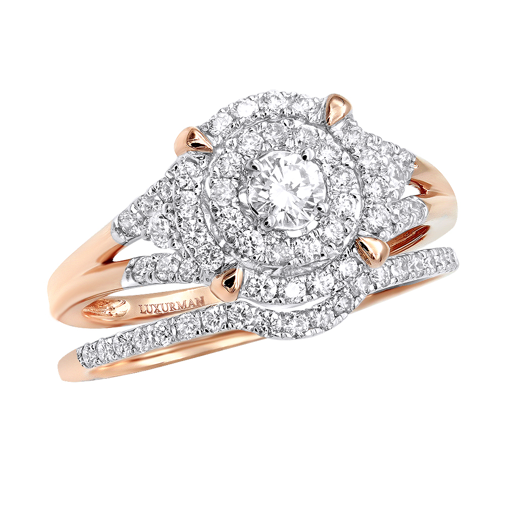 14K Gold 0.6CT Double Halo Engagement Ring & Wedding Band Set with 3 Carat Look Rose Image