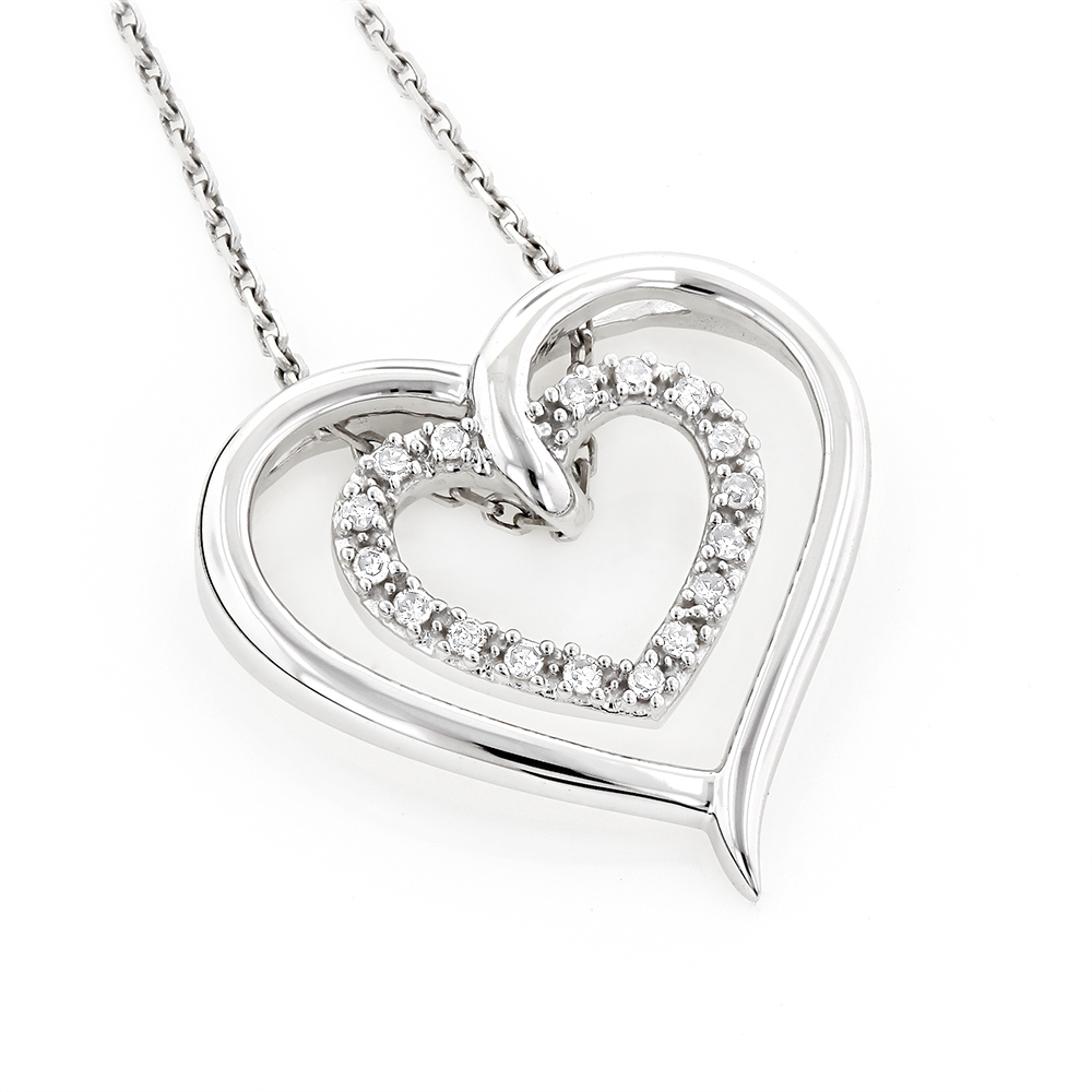 Double Heart Diamond Pendant 10K Gold 0.12ct White Image
