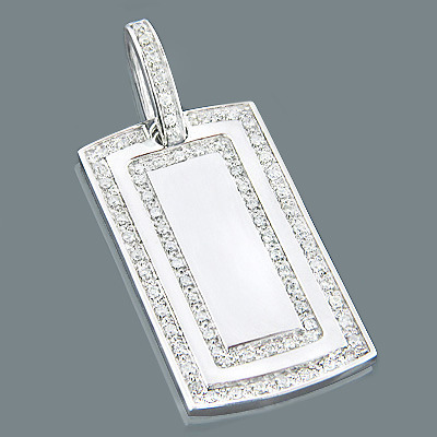 Double Row Diamond Dog Tag Pendant 1.01ct Sterling Silver