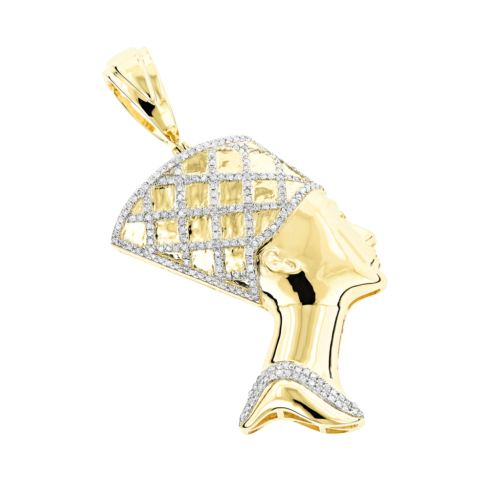 Egyptian Jewelry Solid Gold Diamond Queen Cleopatra Pendant 10K 0.5ct Yellow Image