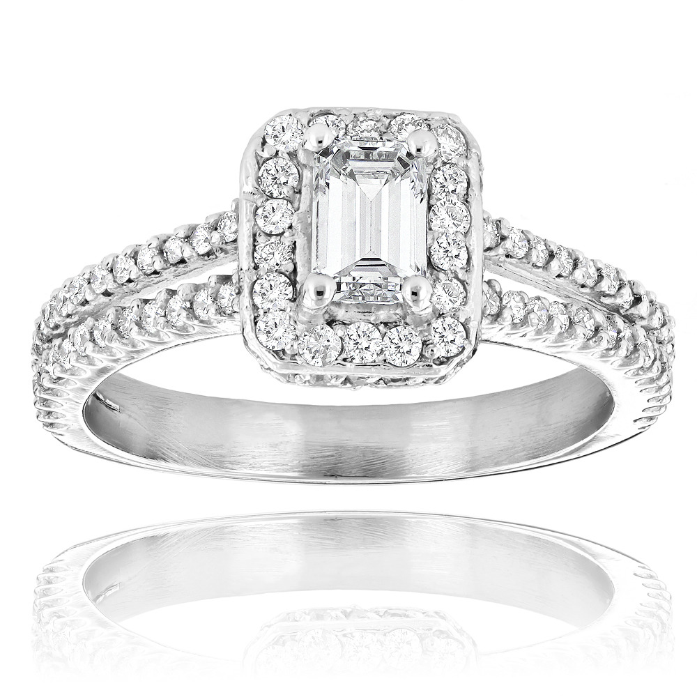 Emerald Cut Diamond Engagement Ring in Platinum 1.21ct Halo Design Main Image