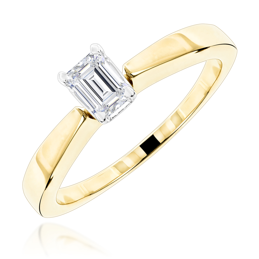 Emerald Cut Diamond Solitaire Engagement Ring 0.5ct 14K White Gold Yellow Image