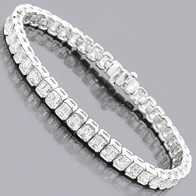 Emerald Cut Diamond Tennis Bracelet 16ct Platinum Main Image