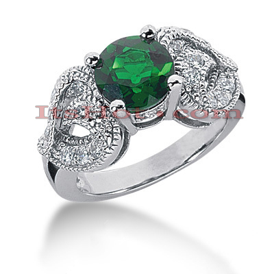 Emerald Engagement Rings: 14K Gold Diamond Ring 0.54ctd 2cte Main Image