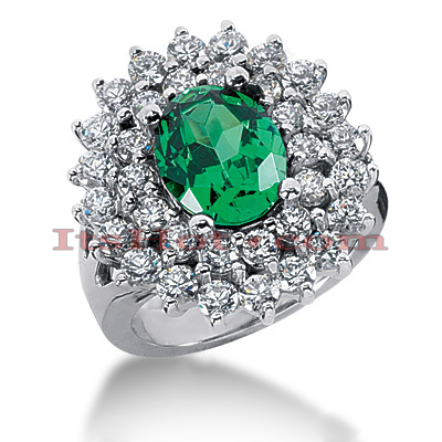 Emerald Rings: Ladies Gemstone Diamond Ring 14K 1.96ctd 3cte Main Image