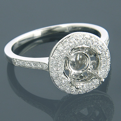 Halo Engagement Ring Settings 18K Diamond Ring Setting .59ct