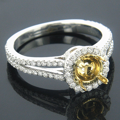 Halo Engagement Ring Settings 18K Diamond Ring Setting .64ct