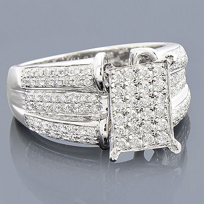 Engagement Rings: 14K Pave Diamond Ring 1.05ct