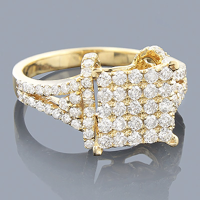 Engagement Rings: 14K Pave Diamond Ring 1.38ct Main Image