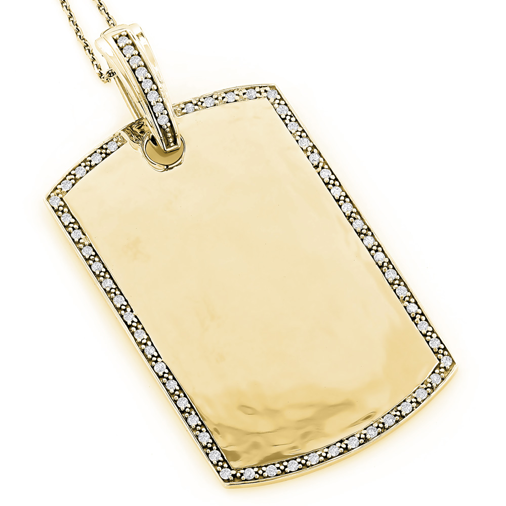 Engravable Dog Tags for Men: Gold Diamond Pendant 0.60ct 14K Yellow Image