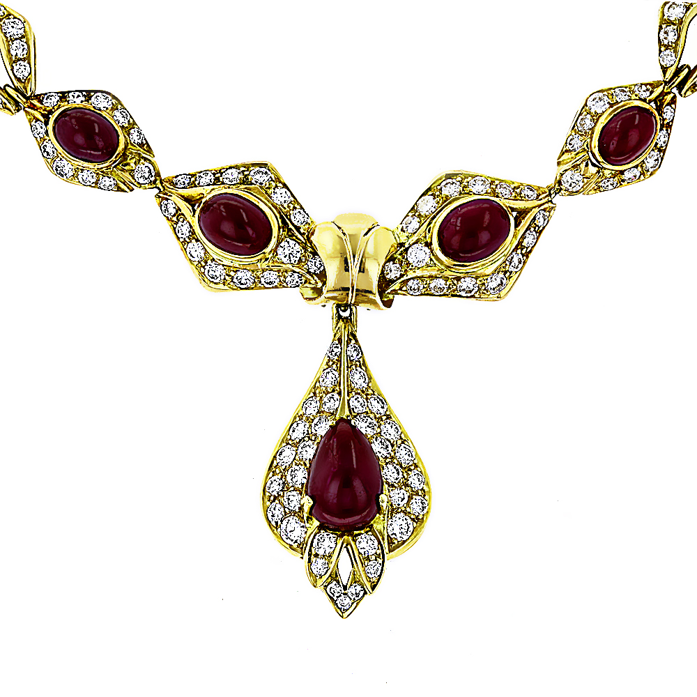 Estate Jewelry Sale 18K Yellow Gold Ladies Vintage Ruby & Diamond Necklace  estate-jewelry-sale-18k-yellow-gold-ladies-vintage-ruby-diamond-necklace_1
