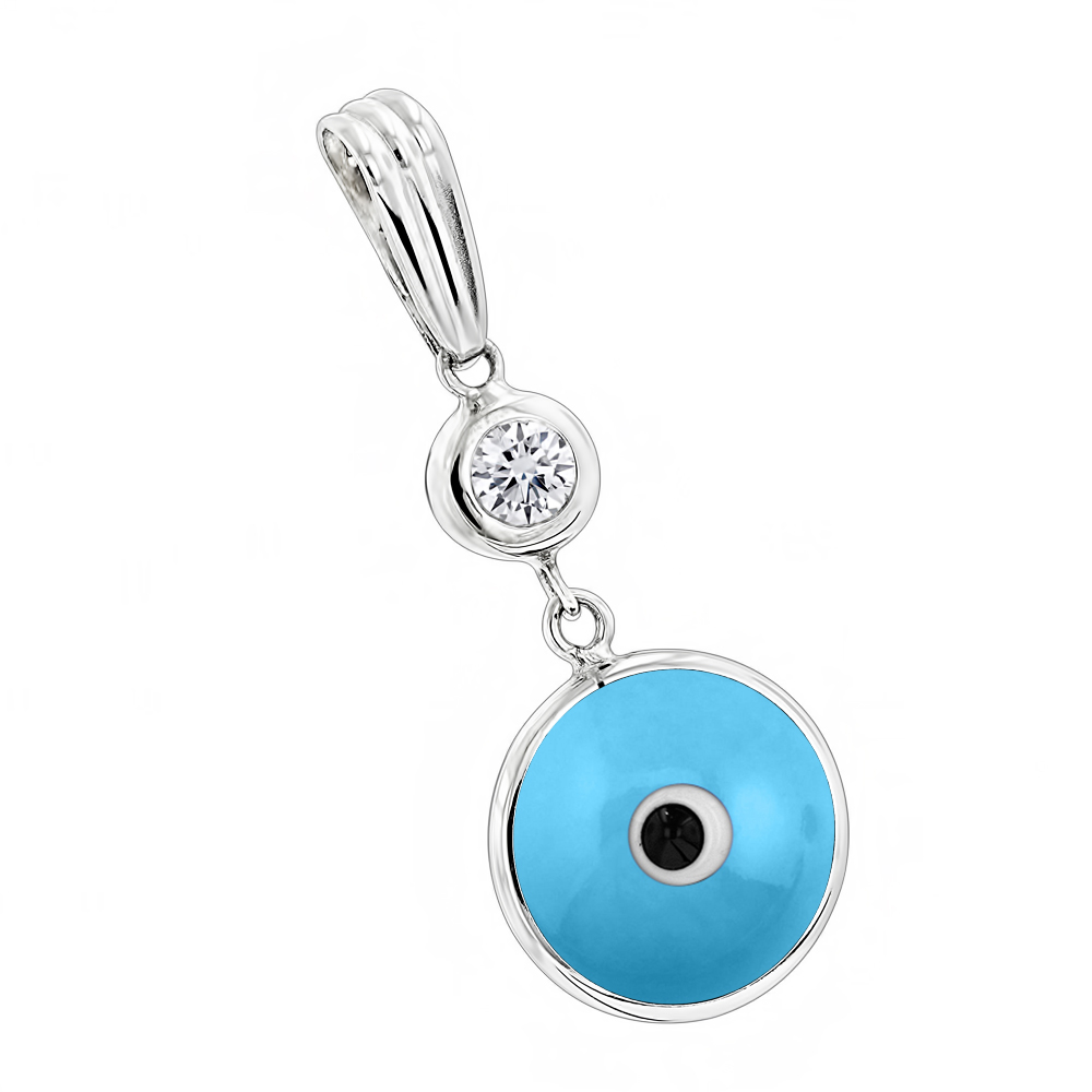 Evil Eye Jewelry 14K Diamond Evil Eye Pendant Blue .10 White Image