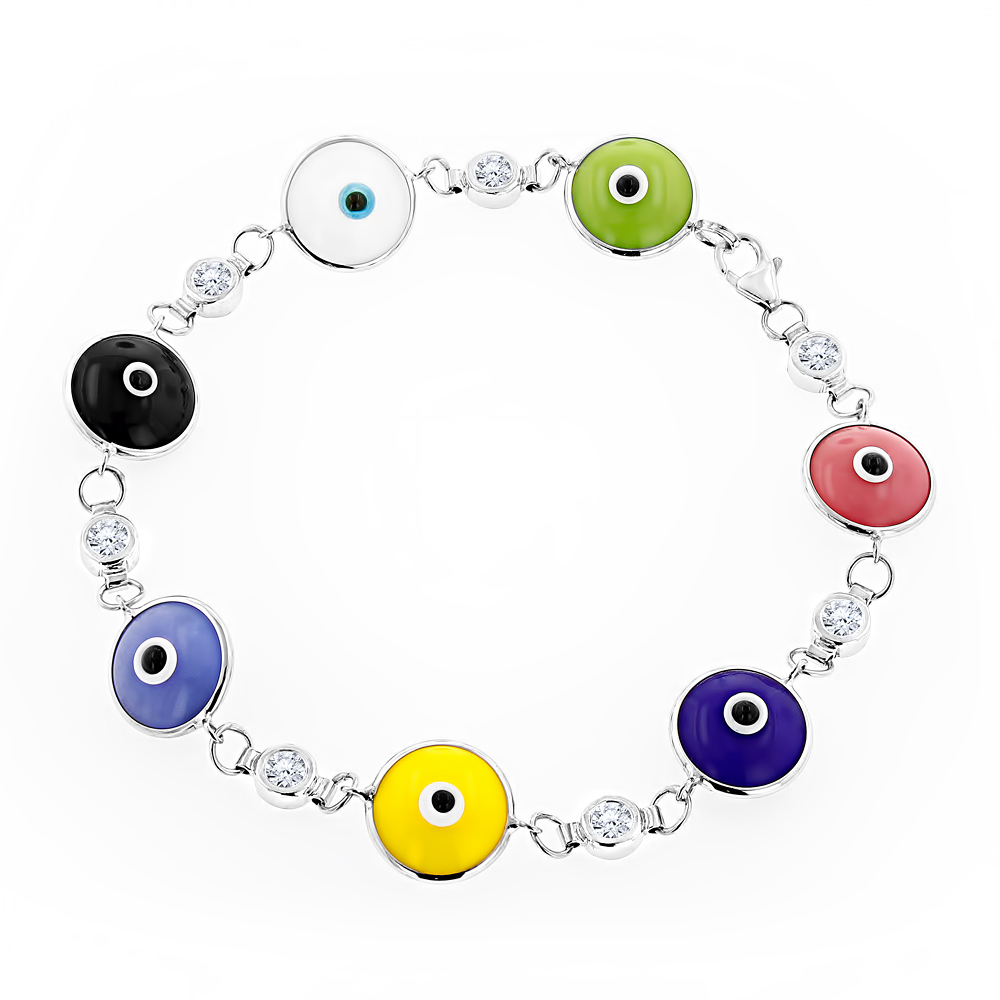 Evil Eyes 14K Diamond Evil Eye Bracelet Multicolor 0.70 White Image