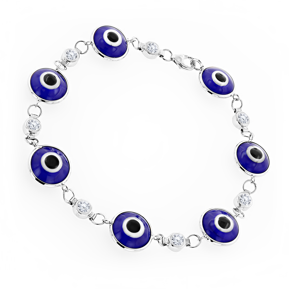 Evil Eyes 14K Gold Diamond Evil Eye Bracelet Blue .70ct White Image