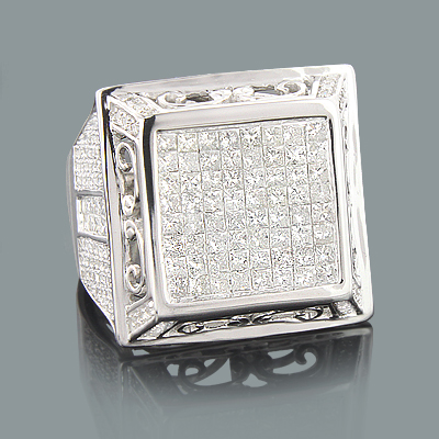 Mens Round & Invisible Set Princess Cut Diamond Ring 3.85ct 14K White Gold expensive-mens-diamond-ring-385ct-14k-princess-cut-round_1