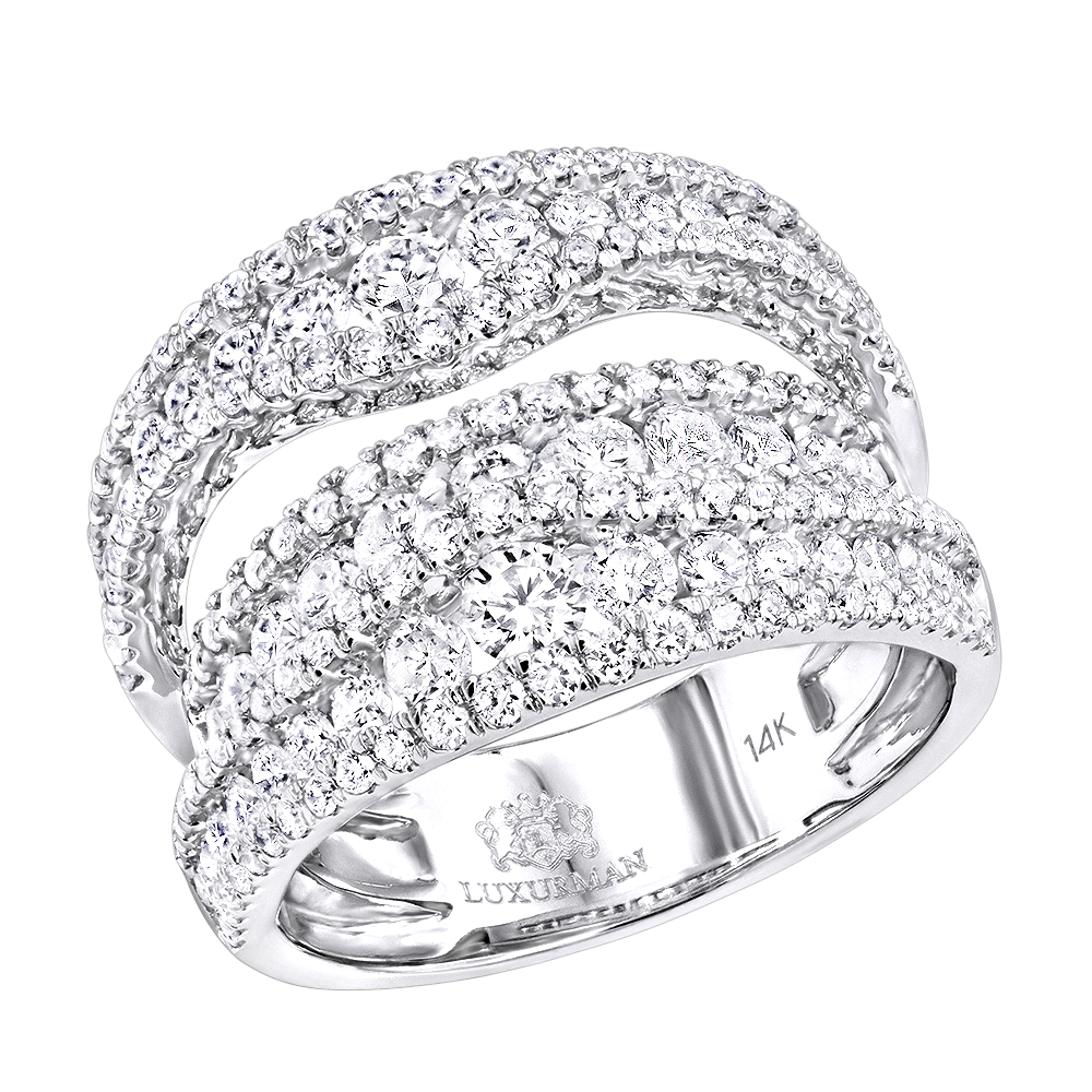 Exquisite 14k Gold Diamond Cocktail Ring for Women by Luxurman 2.75ct White Image