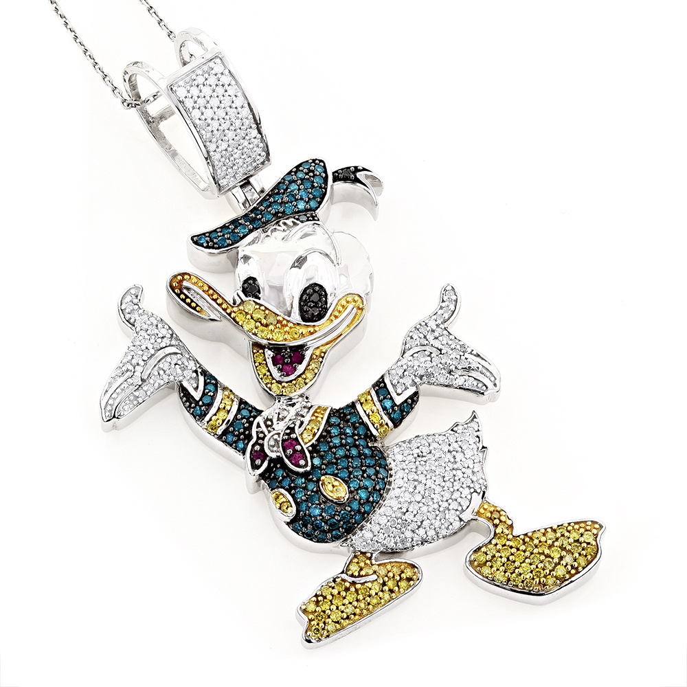 Fancy Diamond Pendants 10K Donald Duck Pendant 4.08ct Main Image