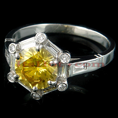 Fancy Yellow Diamond Designer Platinum Engagement Ring Main Image