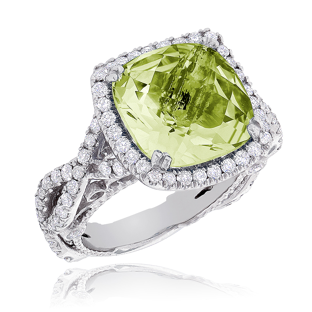 Fine Gemstone Jewelry: Lemon Quartz Diamond Cocktail Ring 11ct