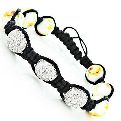 Flower Bead Crystal Disco Ball Bracelet Main Image