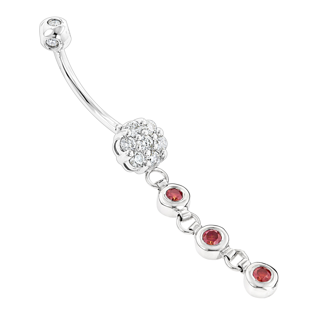 Flower Body Jewelry: White Pink Diamond Belly Button Ring 0.75ct 14K Gold