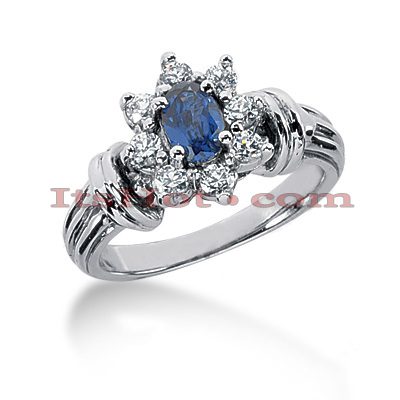Flower Engagement Rings: Diamond and Blue Sapphire Ring 14K Main Image