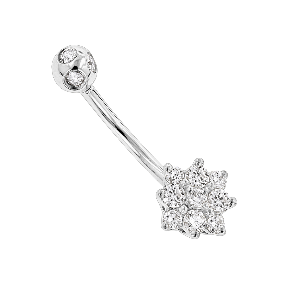 Flower Shaped 14K Gold Diamond Navel Ring 0.55ct White Image
