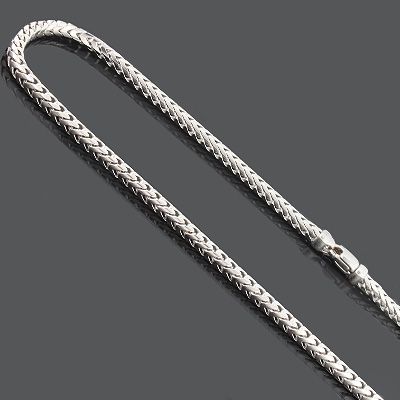 "Franco Chain Necklace 3.5mm 30"" Mens Sterling Silver Chain Main Image"