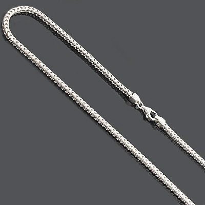 "Franco Chain Necklace 3mm 36"" Sterling Silver Main Image"