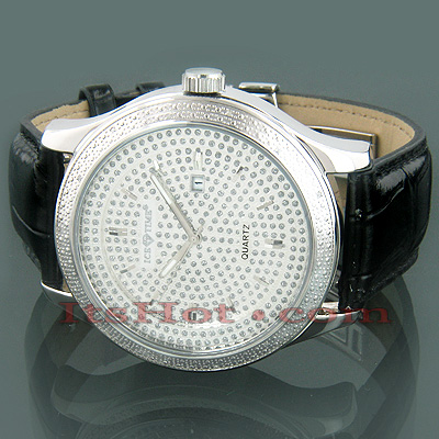 Freeze Ice Time Exotic Real Diamond Watch 0.14ct