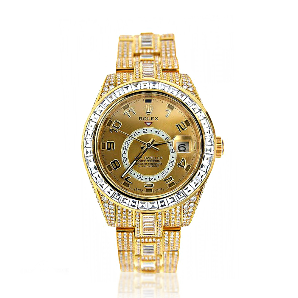 Fully Iced Out 18K Yellow Gold Diamond Sky Dweller Rolex Watch for Men 45ct Main Image
