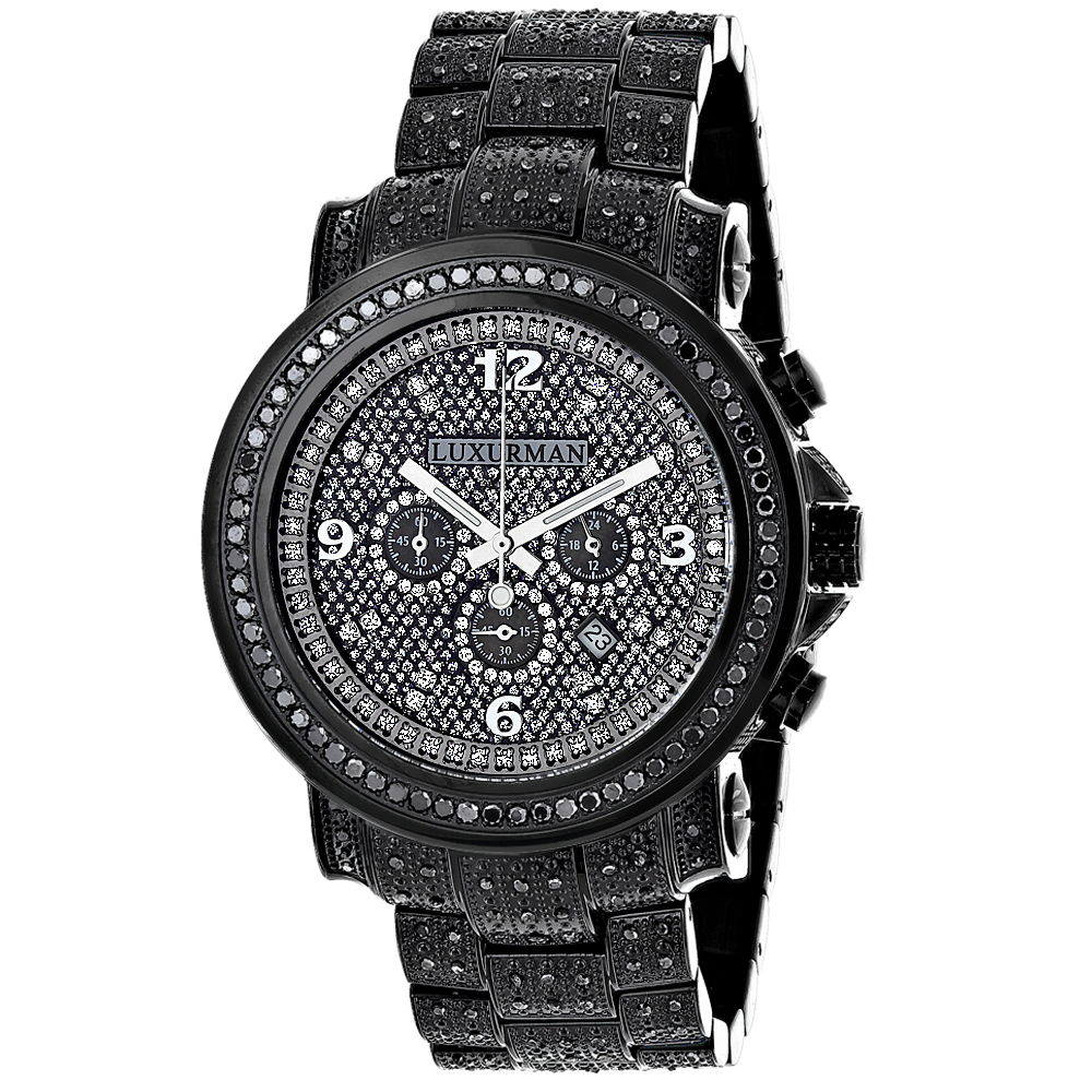 Fully Iced Out Black Diamond Mens Watch by Luxurman 4.25ct Oversized Main Image