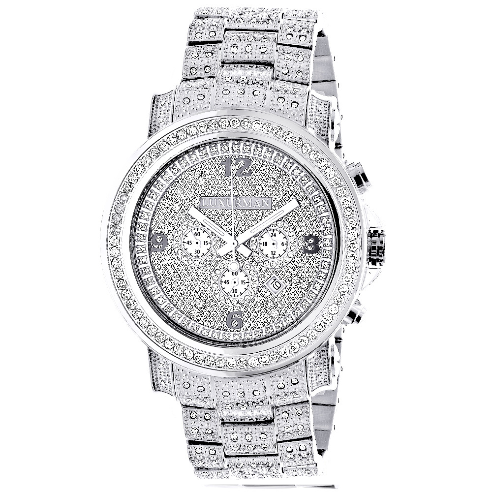 Fully iced out large diamond watch for men by luxurman for Diamond watches