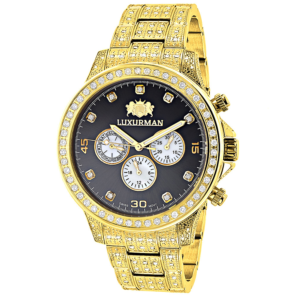 Fully Iced Out Mens Diamond Watch 3ct Yellow Gold Plt Luxurman Swiss Movement Main Image