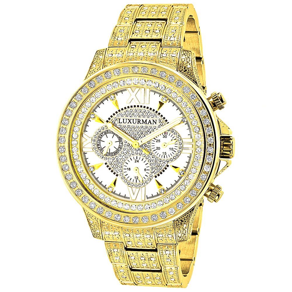 Fully Iced Out Mens Diamond Watch 3ct Yellow Gold Plt Luxurman Swiss Movmnt Main Image