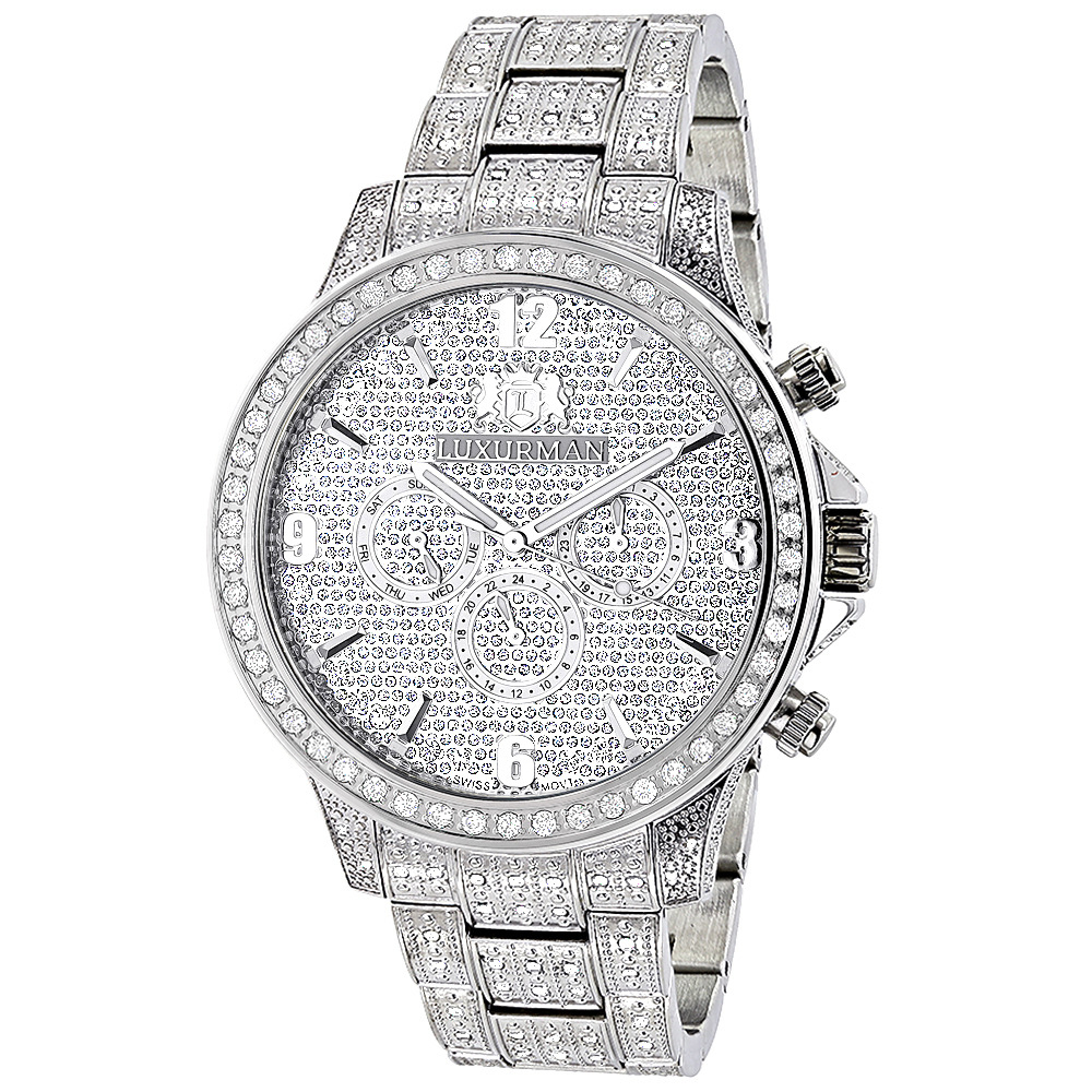 Fully Iced Out Watches: Luxurman Mens Diamond Watch 3 carats Liberty Main Image