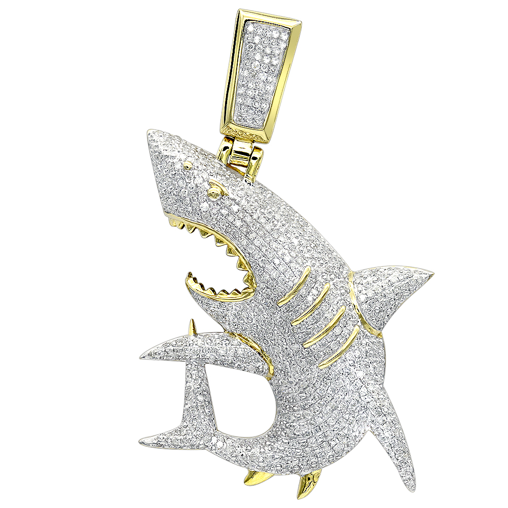 Fully Paved Diamond Shark Pendant for Men in 10k Gold Jaws Charm 1.5ct Yellow Image